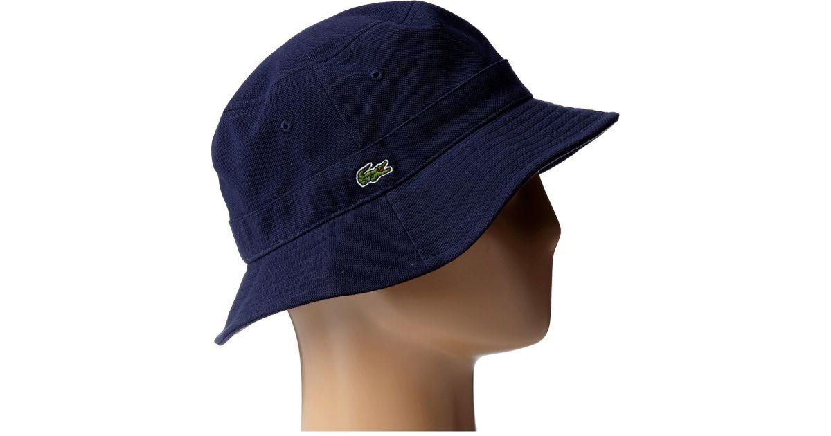 491d8a819fb Lyst - Lacoste Bucket Cap in Blue for Men
