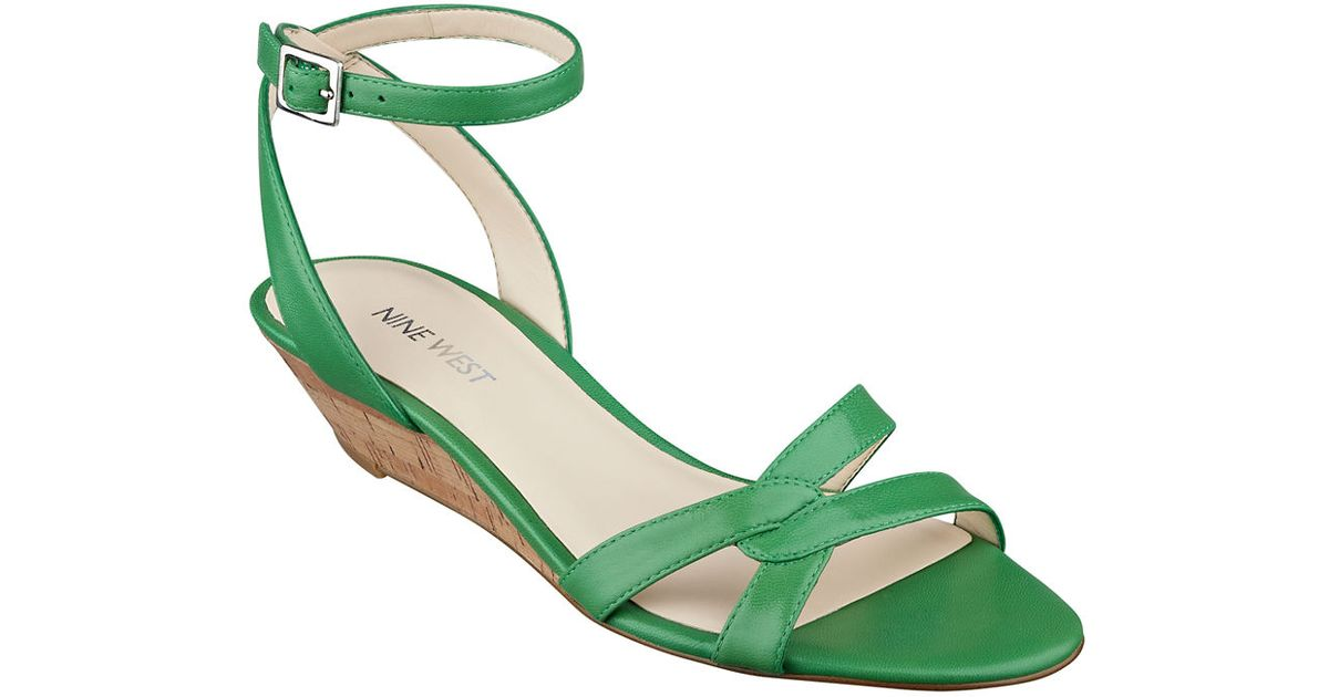 Wedge Valaria Green Leather West Sandals Nine VpqSUzM