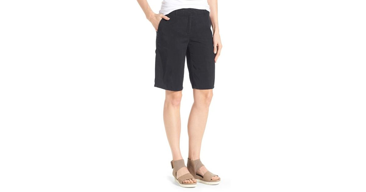 Eileen Fisher Tencel Twill Tapered Shorts In Black Lyst