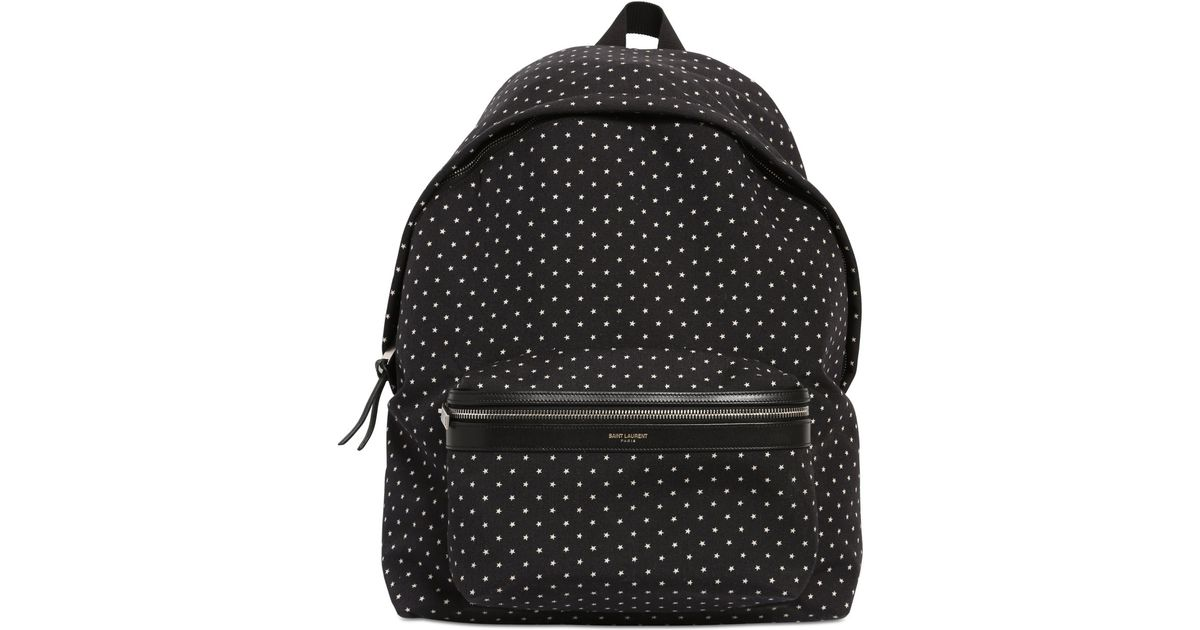 6d6d28df85 Lyst - Saint Laurent Star Printed Nylon Canvas Backpack in Black for Men