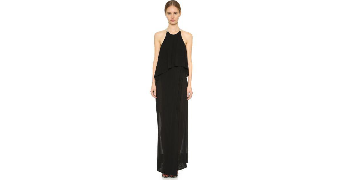 Lyst - Donna Karan Floor Length Halter Gown in Black