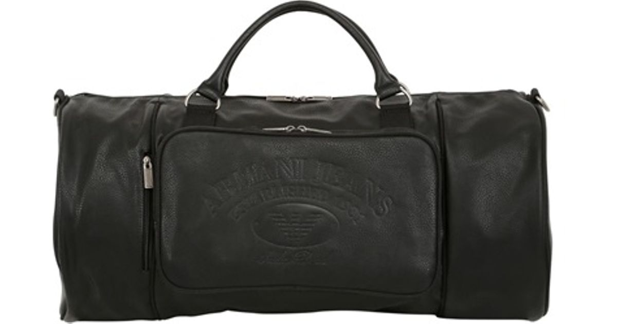 Lyst - Armani Jeans Faux Leather Gym Bag in Black for Men 05478b811231a