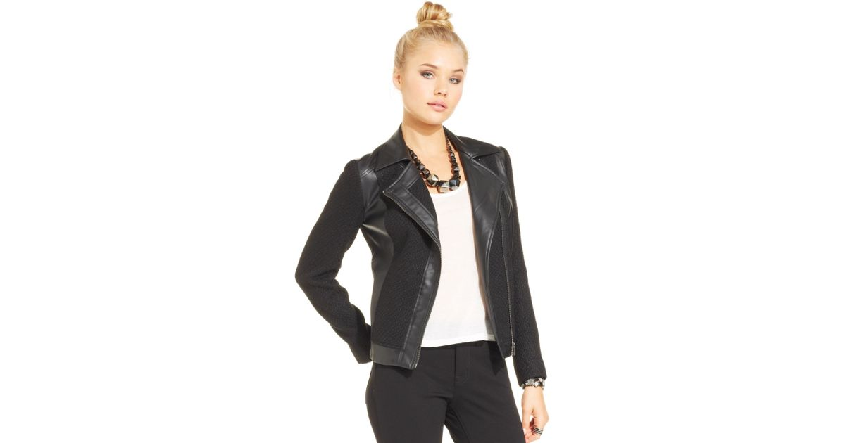 outlet boutique volume large clearance sale Jessica Simpson Black Alric Tweed Fauxleather Jacket