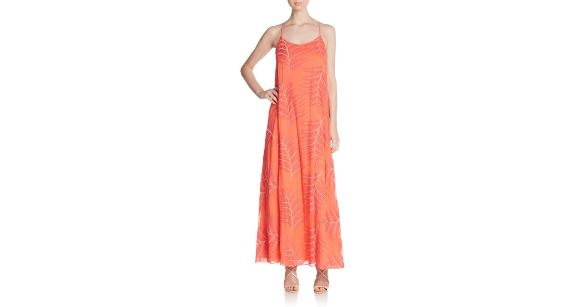 Alice olivia kelly embroidered silk chiffon maxi dress