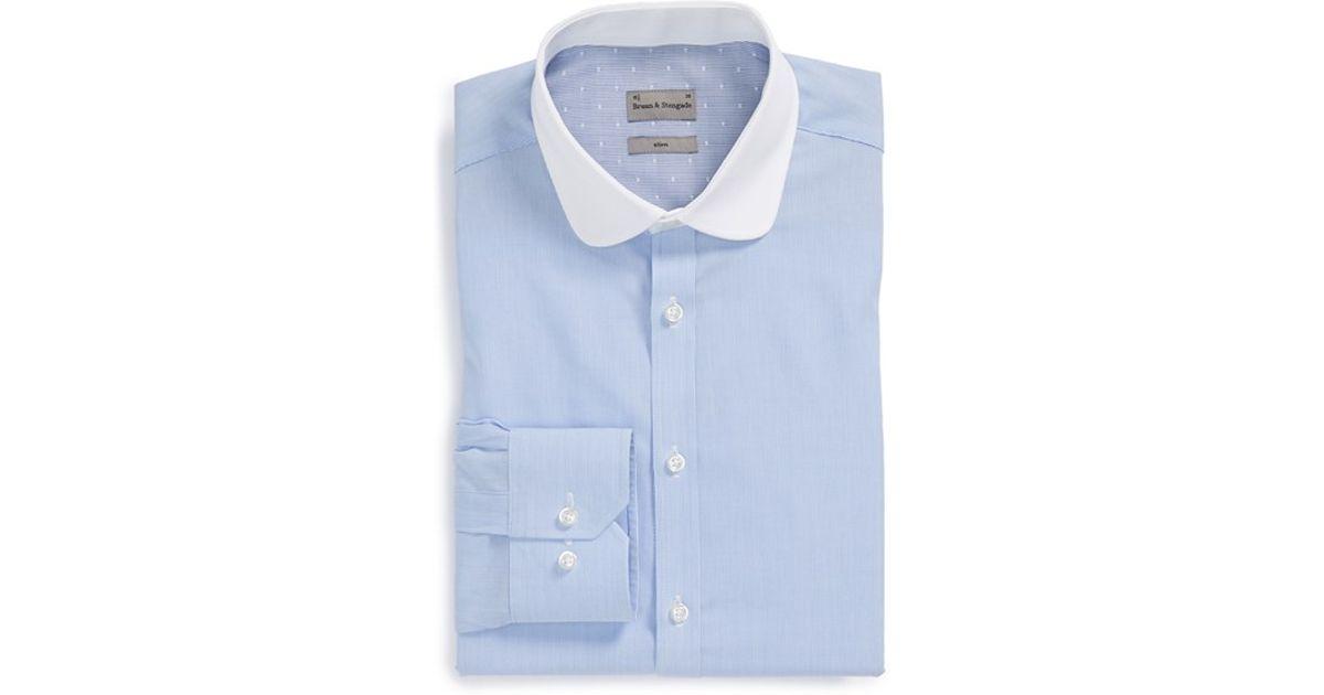 bad8da6cd4a Bruun & Stengade Slim Fit Stripe Dress Shirt in Blue for Men - Lyst