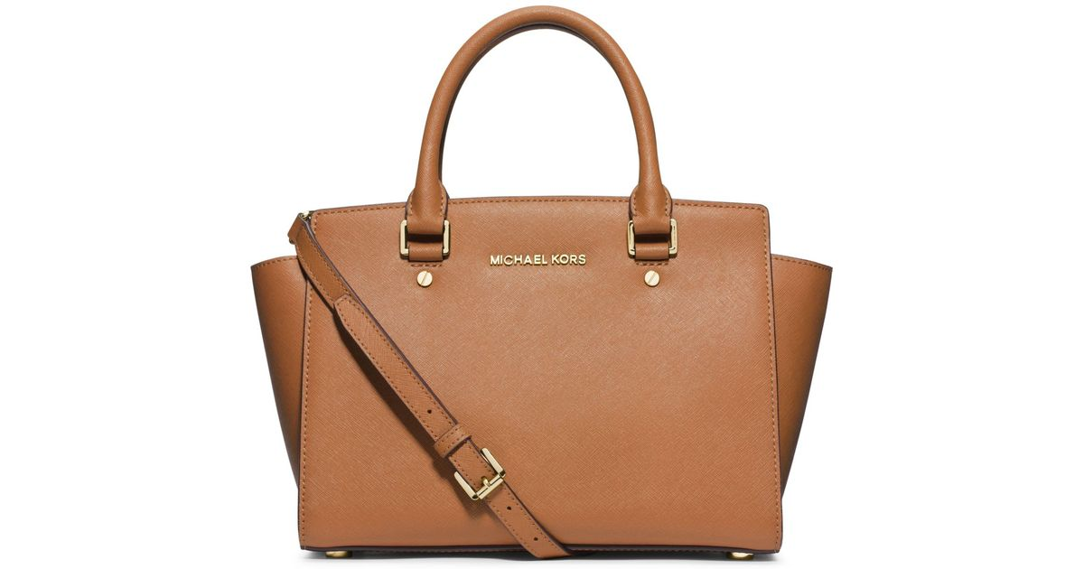 michael kors selma saffiano leather medium satchel in brown lyst. Black Bedroom Furniture Sets. Home Design Ideas