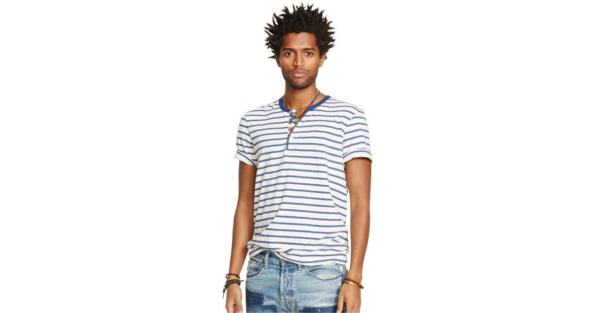 17bd9af045 Lyst - Denim   Supply Ralph Lauren Short-Sleeved Striped Flag-Placket Henley  in Blue for Men