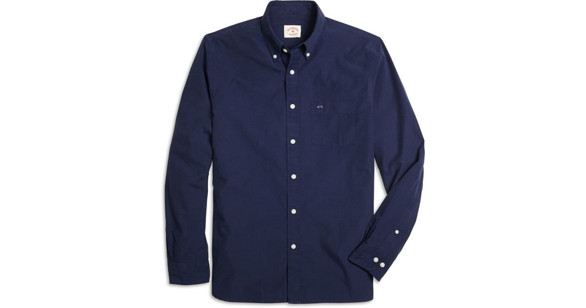 Brooks brothers end on end solid sport shirt in blue for for Brooks brothers sports shirts