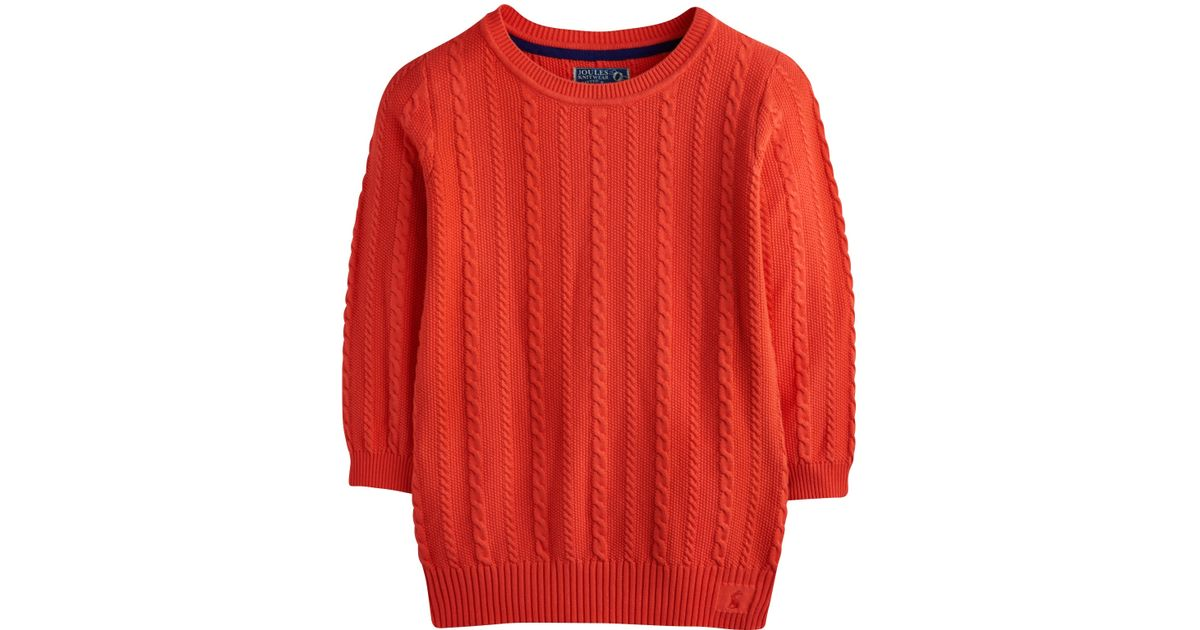 0a175845be6 Joules Orange Cleo Cable Knit Jumper
