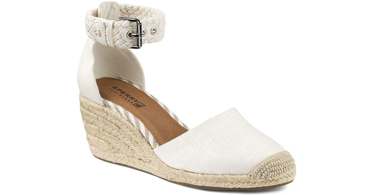 2c542b9f812 Sperry Top-Sider Espadrille Wedge Sandals - Valencia Closed Toe in White -  Lyst