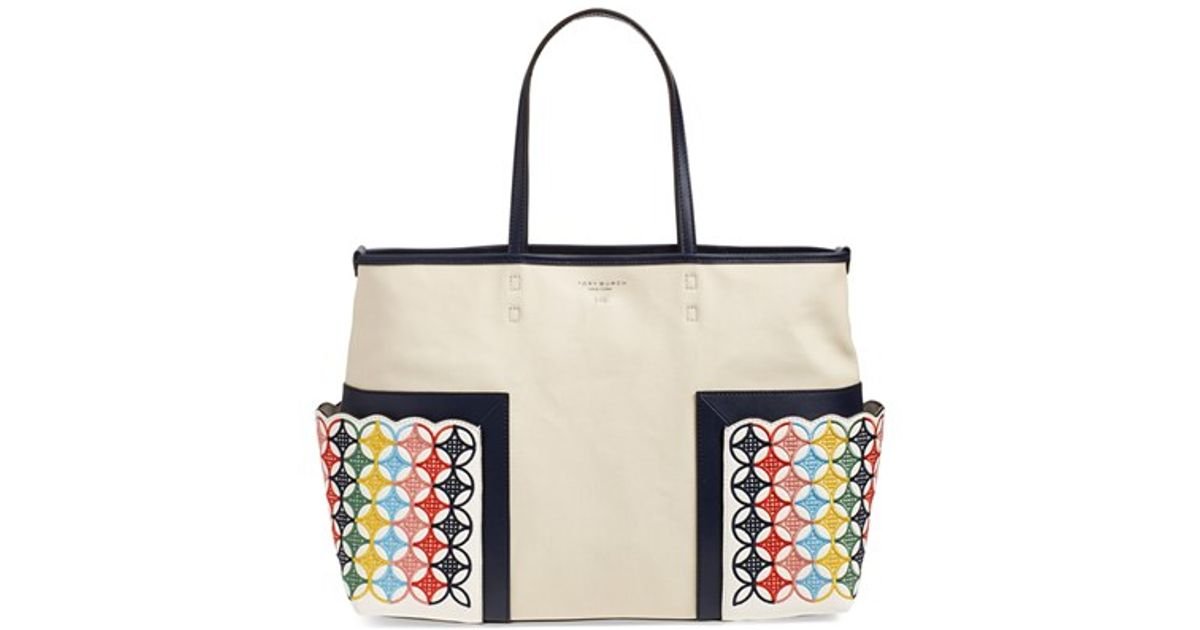 Tory burch 'block-t' Embroidered Canvas Tote in Natural | Lyst