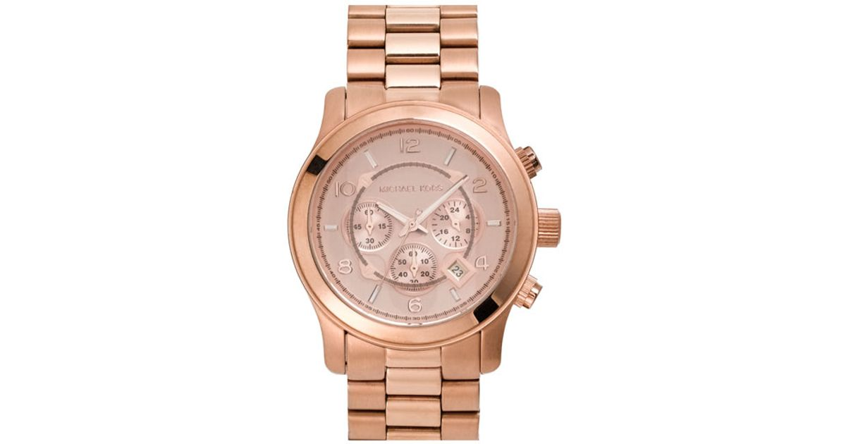 michael michael kors michael kors 39 large runway 39 rose gold plated watch in gold rose gold lyst. Black Bedroom Furniture Sets. Home Design Ideas