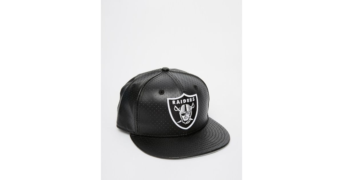 Ktz 59fifty Leather Oakland Raiders Fitted Cap In Black