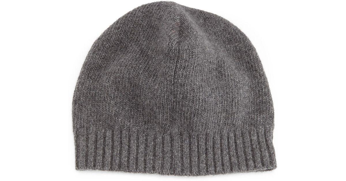 fe4578395e1 Lyst - Portolano Cashmere Basic Knit Beanie Hat in Gray