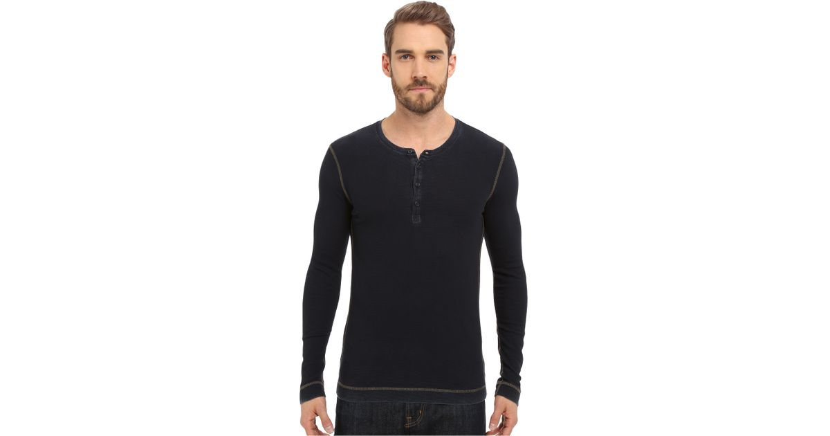 Mavi jeans long sleeve t shirt with buttons in blue for for Mens shirts with snaps instead of buttons