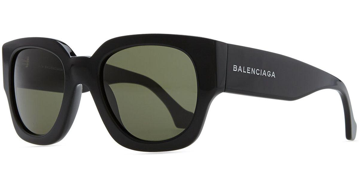 63da49ac9c79 Balenciaga Thick Square Acetate Sunglasses in Black - Lyst
