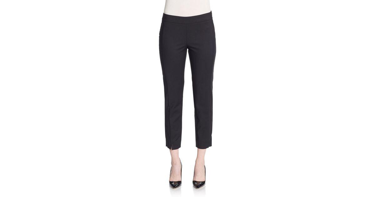 fedc16ebc0031 Ellen Tracy Cropped Side-zip Pants in Black - Lyst
