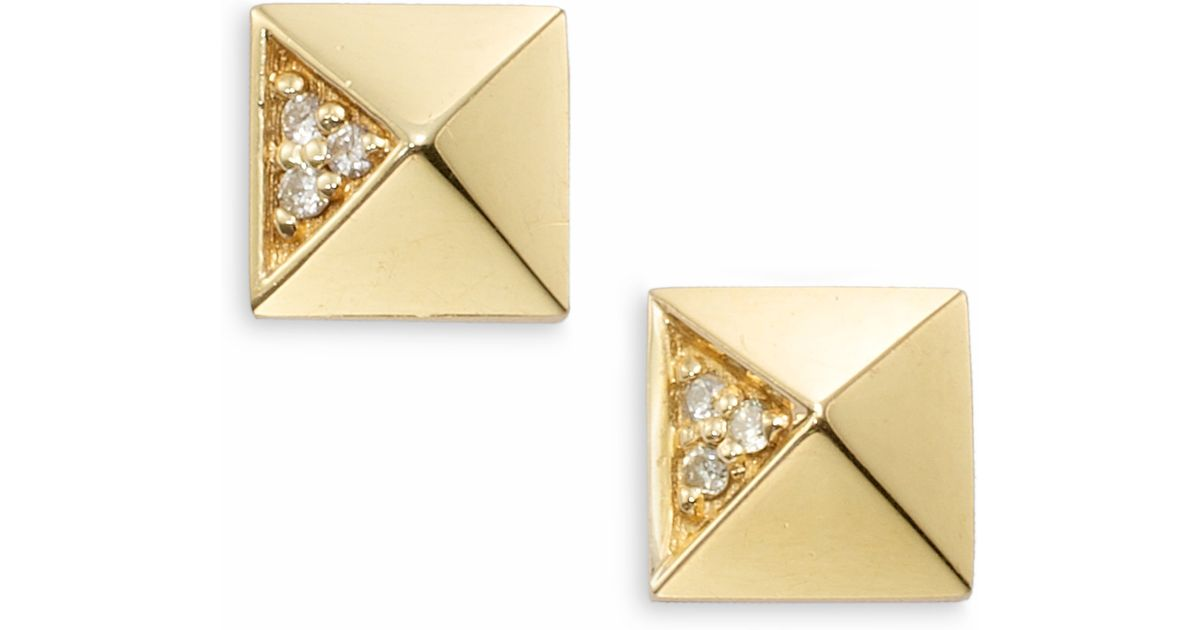 1f3d83fa24f23 Sydney Evan Metallic Diamond & 14k Yellow Gold Pyramid Stud Earrings