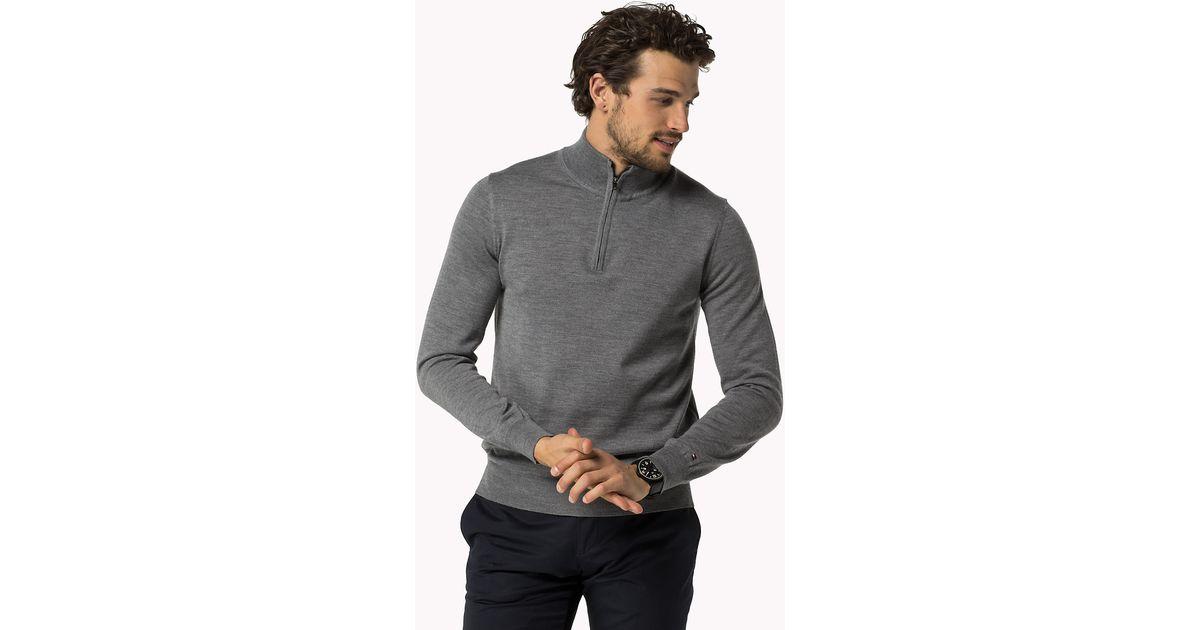 dde5d6ca4 Tommy Hilfiger Wool Mock Neck Sweater in Gray for Men - Lyst