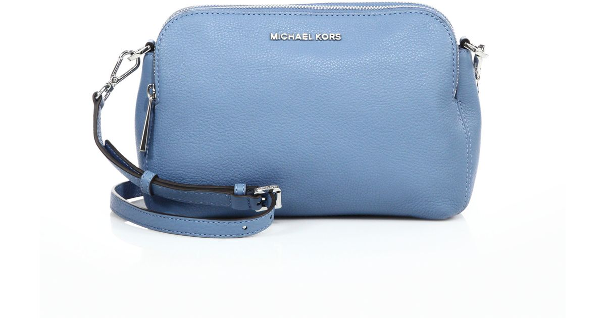 Lyst Michael Kors Bedford Medium Double Zip Leather Messenger Bag In Blue