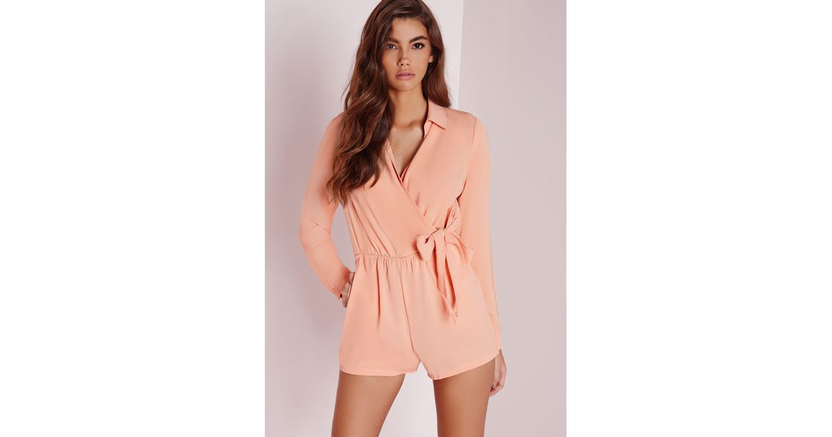 efc0b38b305a Lyst - Missguided Wrap Front Shirt Romper Nude in Natural