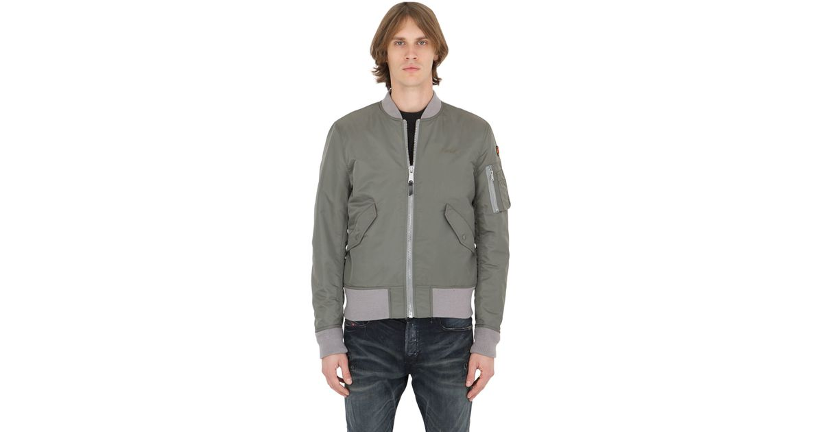 american college usa schott nylon bomber jacket in gray for men army green lyst. Black Bedroom Furniture Sets. Home Design Ideas