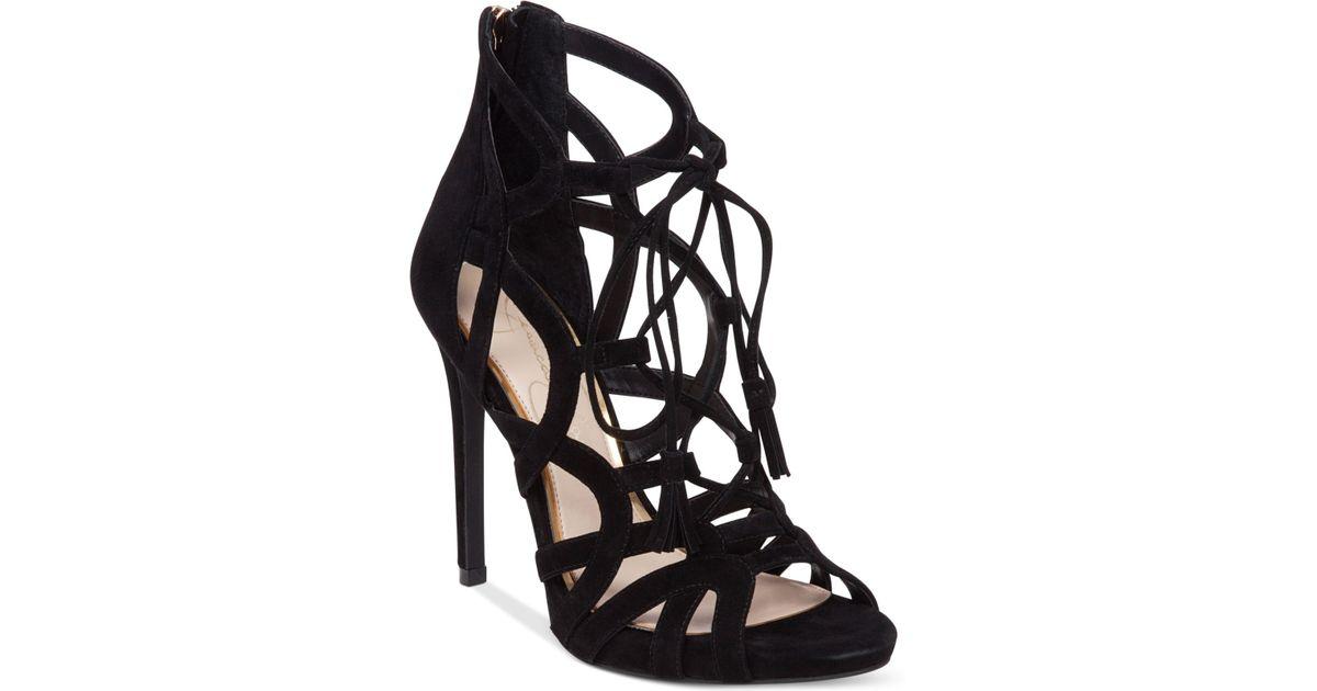2f0589773ccc Lyst - Jessica Simpson Racine Lace-up High-heel Gladiator Sandals in Black