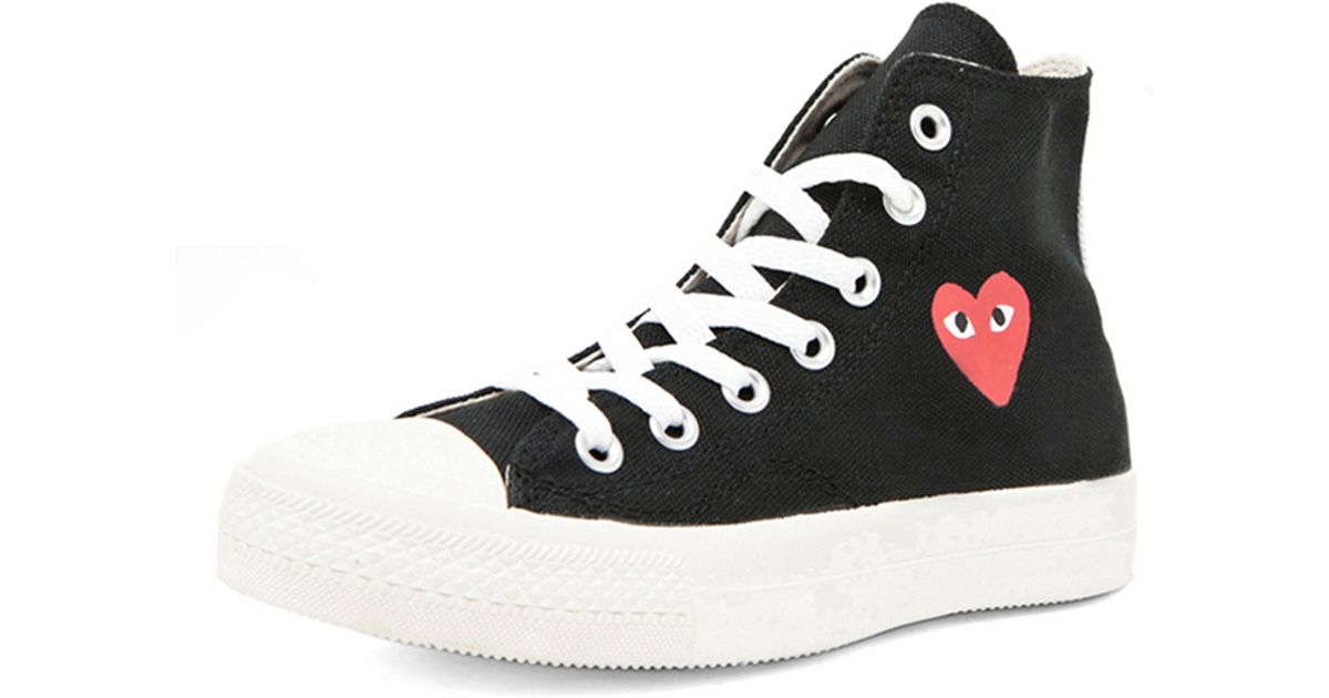 Lyst - Play Comme des Garçons Converse High Top Canvas Sneakers in Black 8aa7deb1f3
