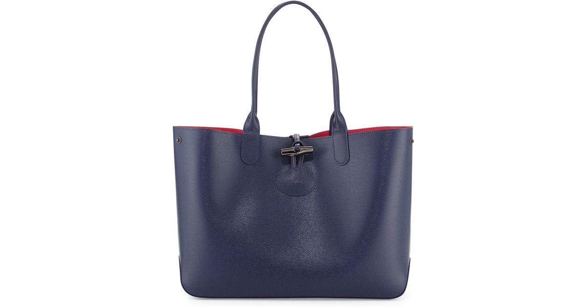 f225aa4ae94 Longchamp Roseau Reversible Leather Tote Bag in Black - Lyst