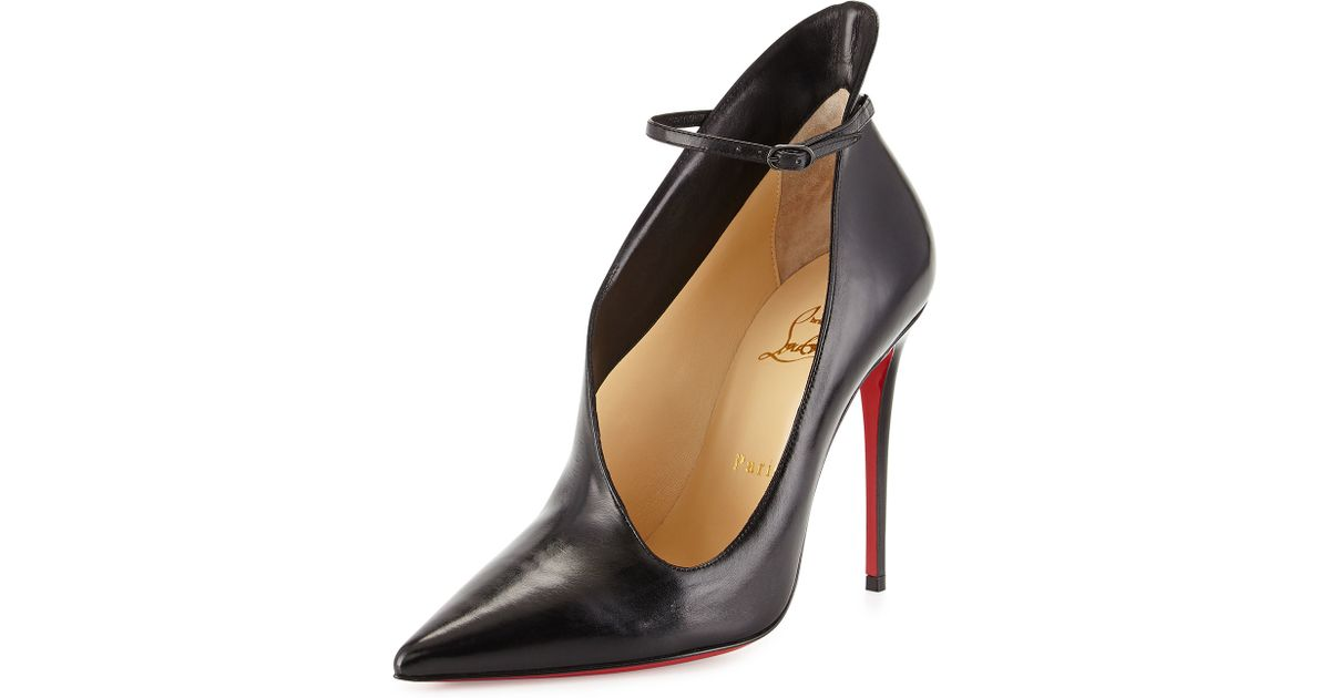 553b19bb4530 Lyst - Christian Louboutin Vampydoly Red Sole Leather Half-Bootie in Black