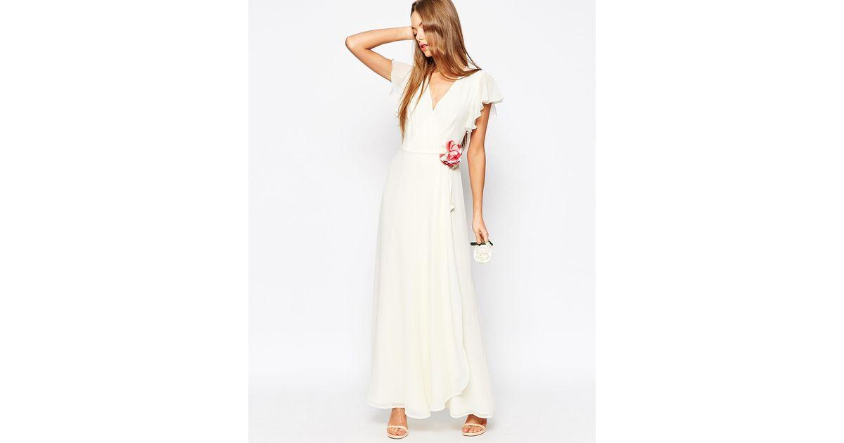 Asos Wedding Corsage Wrap Maxi Dress In White