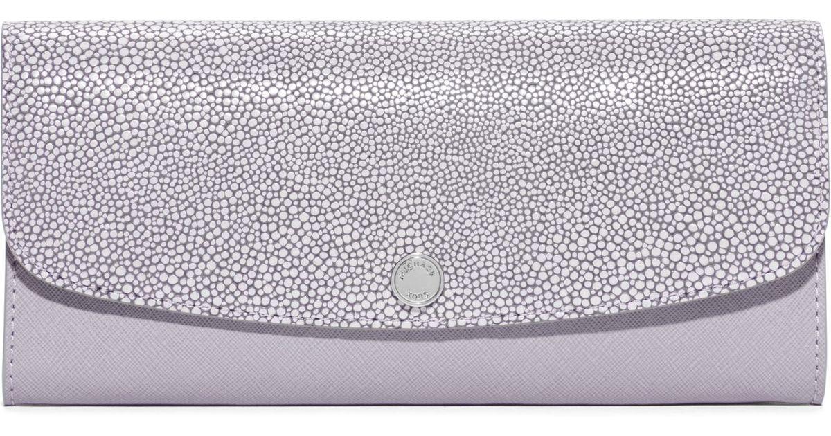 3f2e64070773 Lyst - Michael Kors Juliana Large 3-in-1 Saffiano Leather Wallet in Purple