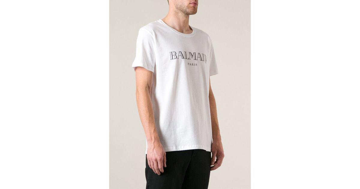 Balmain Logo Print T Shirt In White For Men Lyst