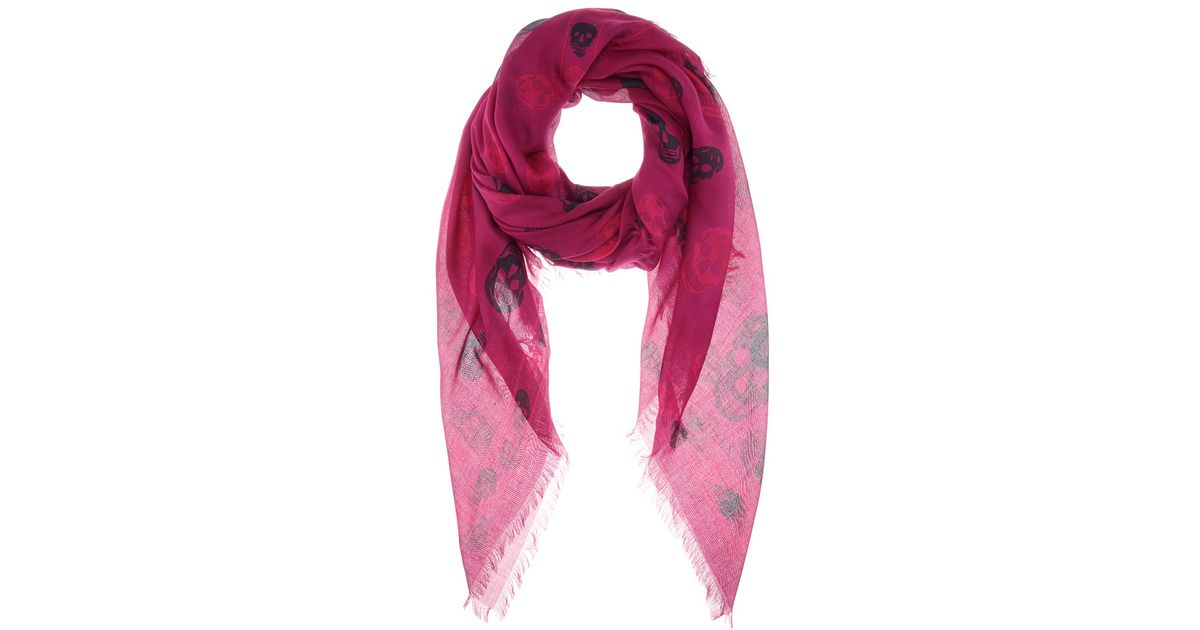 mcqueen printed scarf in pink lyst
