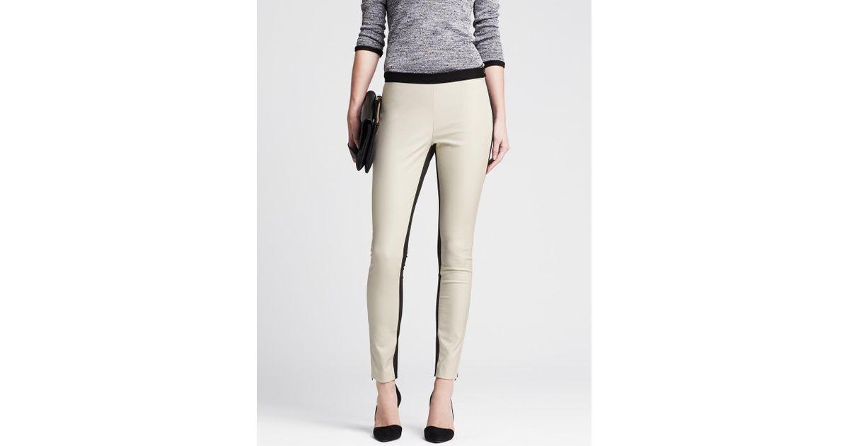 42de2289d4caa1 Banana Republic Sloan-fit White Faux-leather Front Legging in Black - Lyst