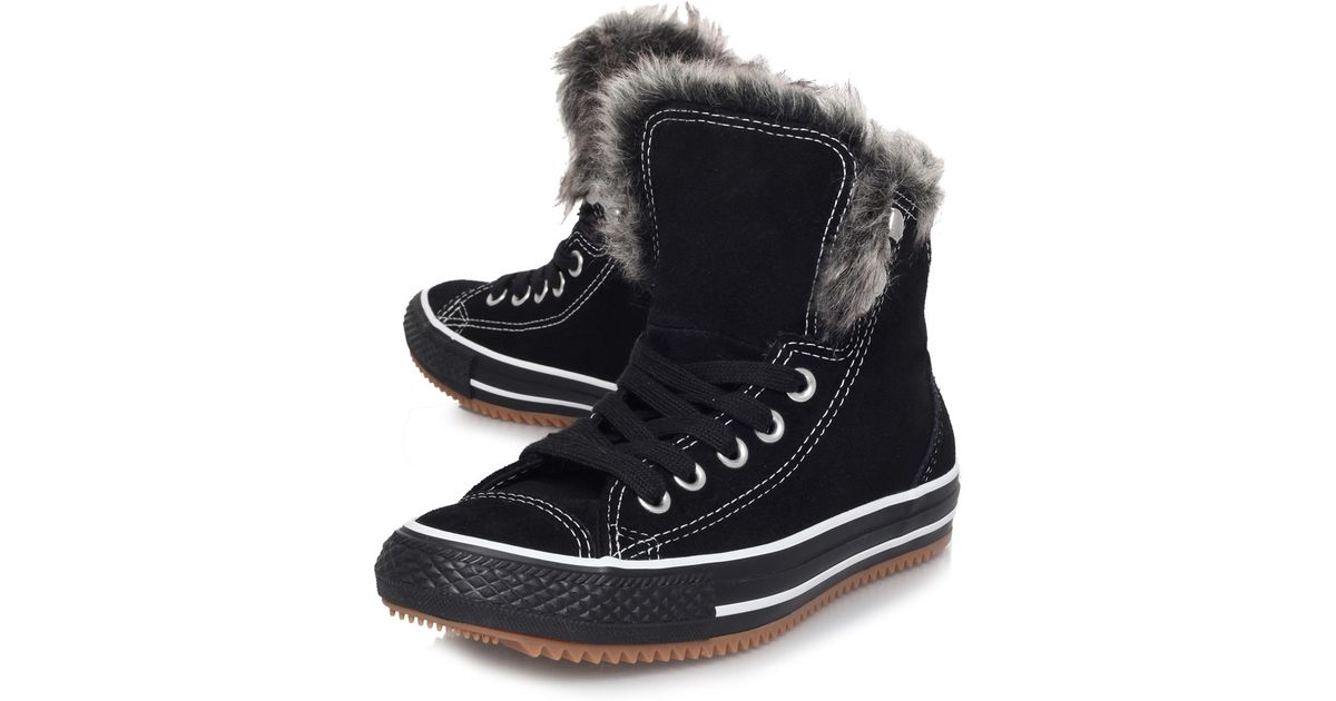 036872f15744af Lyst - Converse Black Chuck Taylor Climber Faux Fur Trainers in Black for  Men