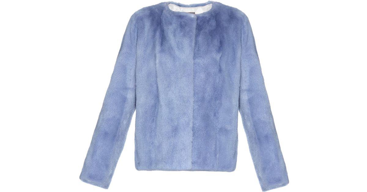 3a8971c76 Lilly E Violetta Blue Katie Mink-fur Jacket