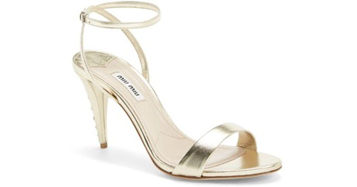 In White Lyst Strap Jeweled Heel Sandal Miu Ankle QdBrshtxoC