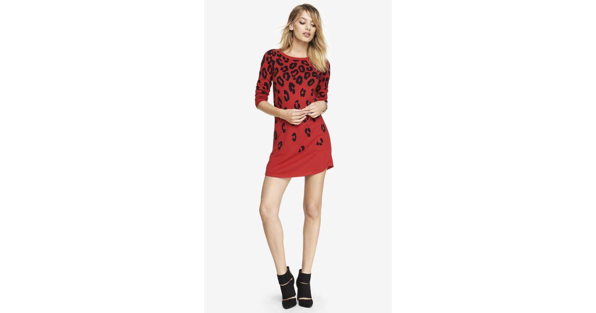2f8e7211bb Lyst - Express Red Leopard Print Sweater Dress in Red