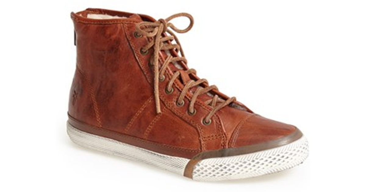 Frye Greene Back Zip Shearling Lined Leather High Top
