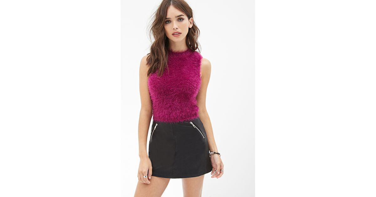 Lyst Forever 21 Fuzzy Knit Top In Purple