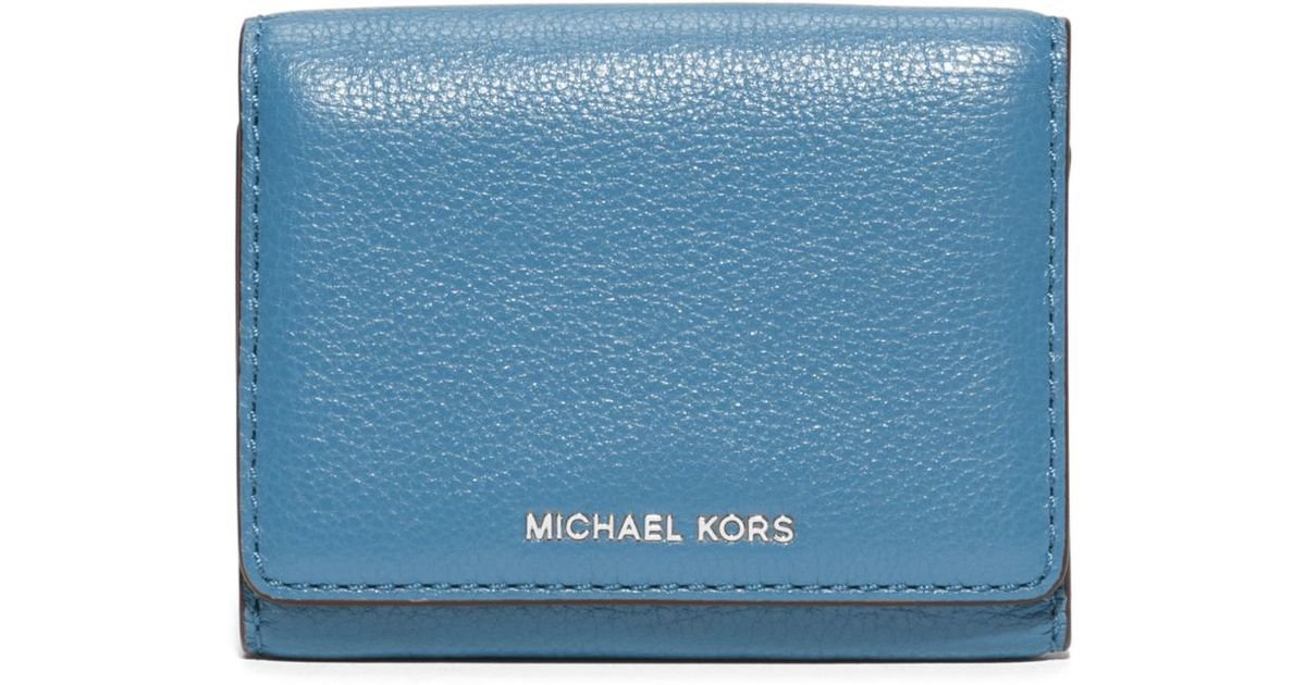 44189ea0add3 Michael Kors Liane Small Leather Card Holder in Blue - Lyst