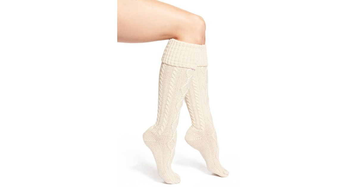 cd27cacdc7c Free People Cable Knit Knee High Socks in White - Lyst