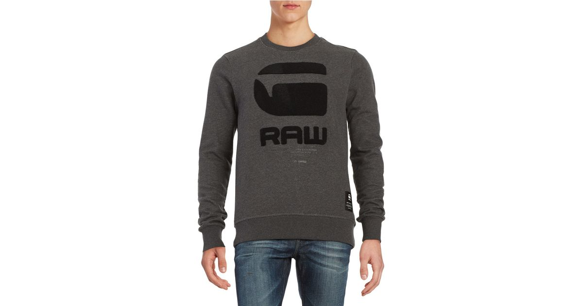 star raw logo pullover sweatshirt in gray for men black lyst. Black Bedroom Furniture Sets. Home Design Ideas