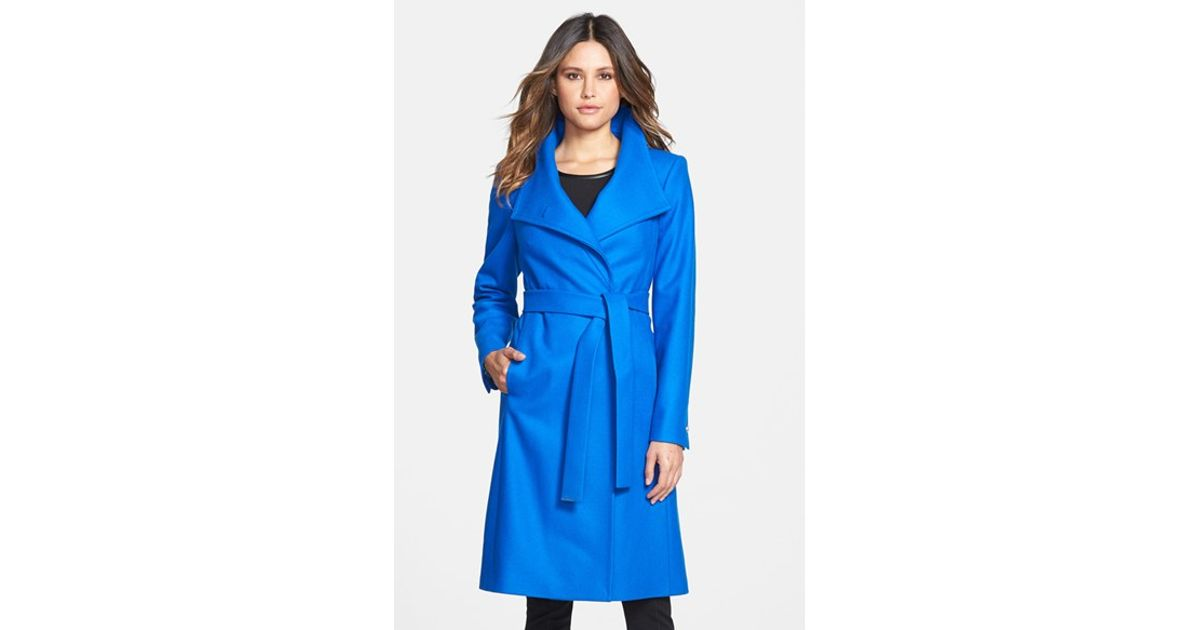 871d19a5e Lyst - Ted Baker  nevia  Stand Collar Belted Wrap Coat in Blue