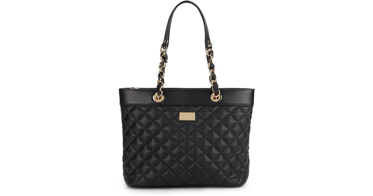 78087df5db Lyst - St. John Quilted Leather Tote Bag in Black