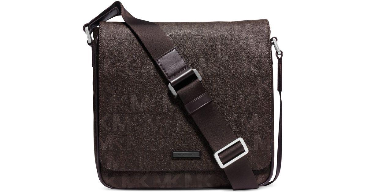 Lyst Michael Kors Jet Set Shadow Medium Flap Messenger Bag In Brown For Men