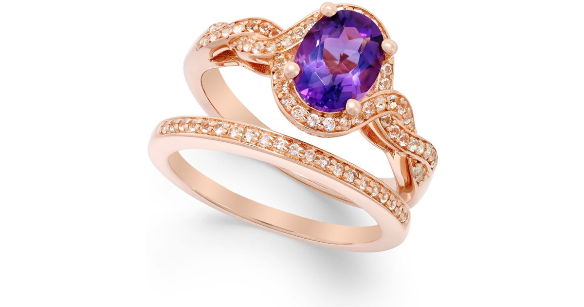 Macy s Amethyst 1 Ct T w And White Topaz Accent Ring Set In 14k Rose