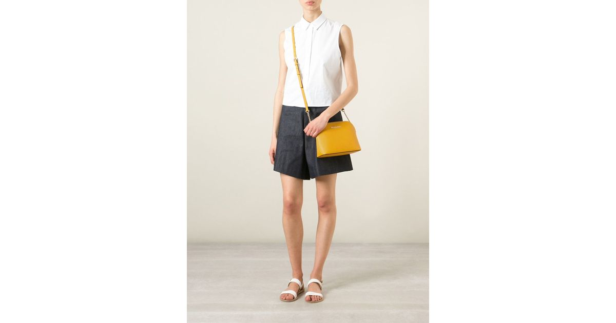 d093387f5db636 Michael Kors Cindy Large Calf-Leather Cross-Body Bag in Yellow - Lyst