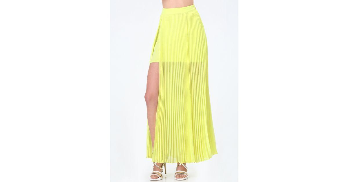 bebe slit maxi skirt in yellow lime lyst